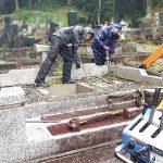 宮城県大崎市松山のお寺様墓地にて、10年ほど前に建てられてご納骨されていないお墓のお墓じまい・解体工事をさせていただきました