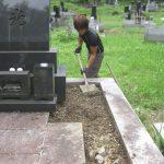 墓地内の雑草にお困りだったお墓の雑草対策をさせていただきました。県外にお住まいのお客様、仙台市泉区のお寺様墓地にて