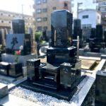 インド産M10(黒御影石)の和型墓石を建立。仙台市内のお寺様墓地にて